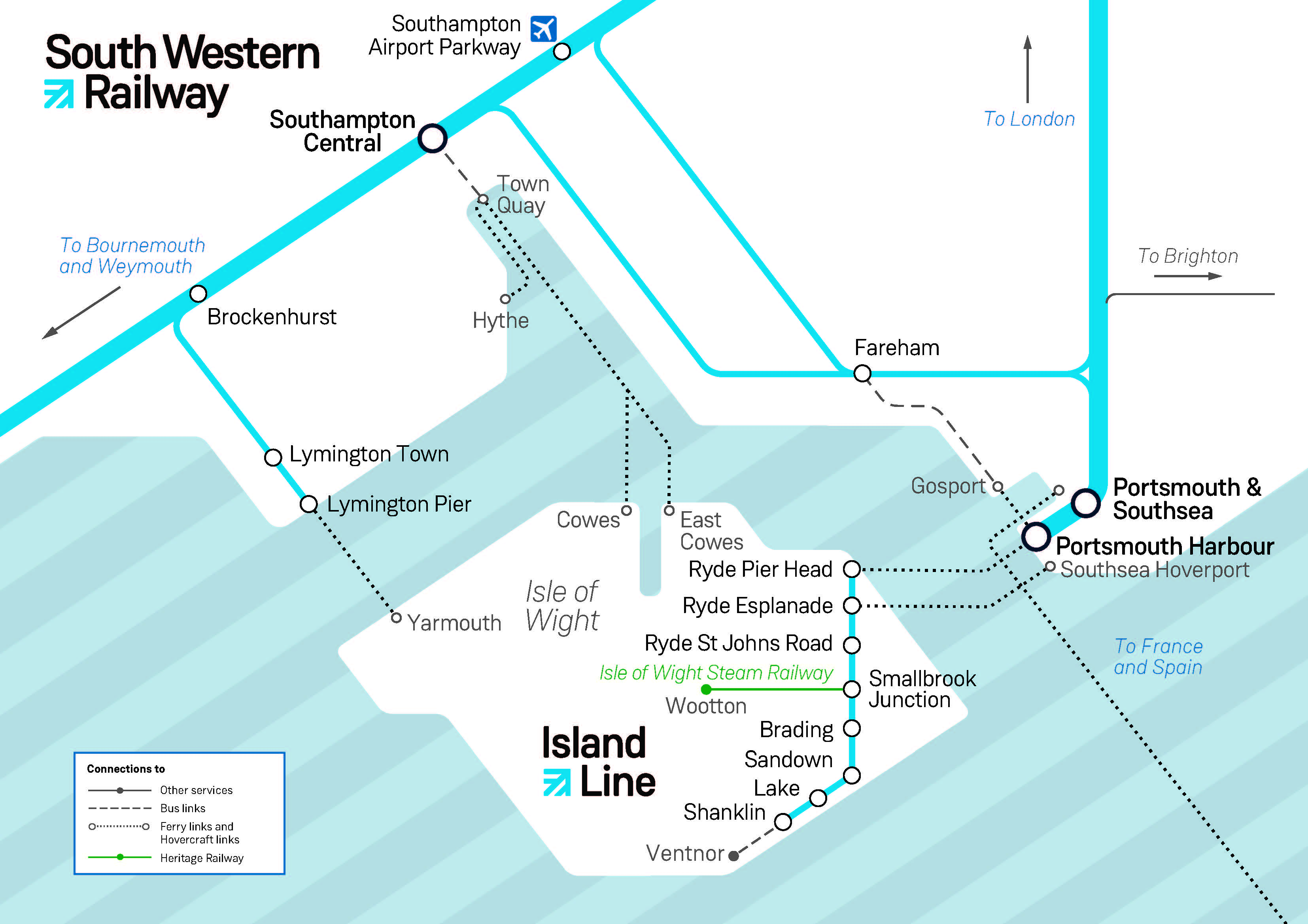 The Island Line train network map | South Western Railway